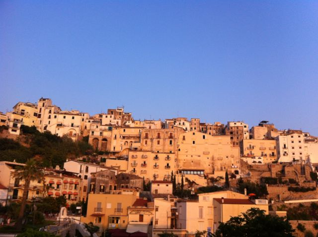 View of Sperlonga at sunset, from our hotel room.