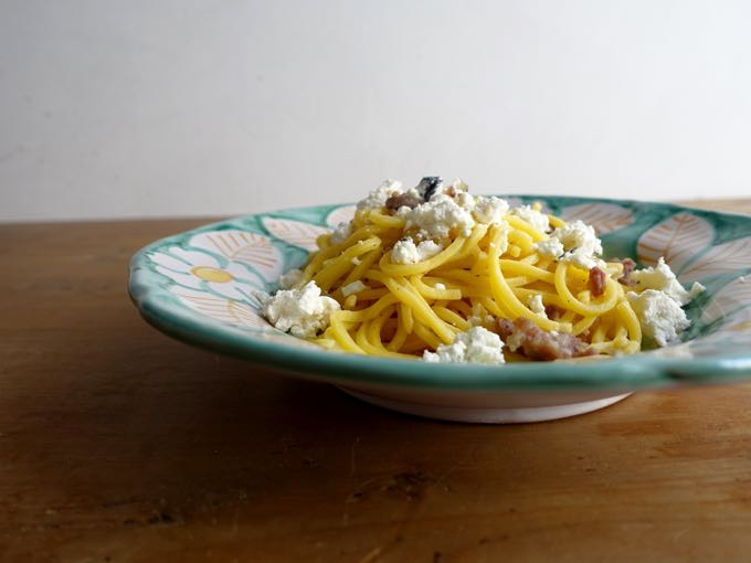 Pasta with Sausage, Onion and Goat Cheese