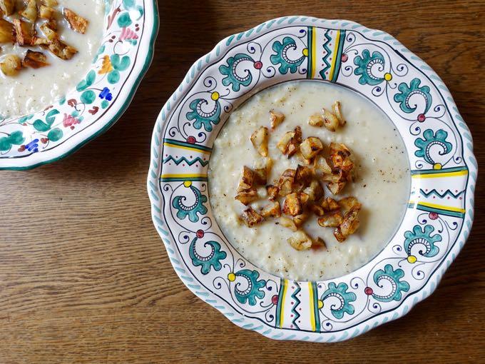 Cauliflower Soup with Jerusalem Artichokes Elizabeth Minchilli
